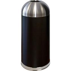 Genuine Joe Trash Receptacle, Domed Top, 15 Gal., Black/Silver