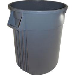 Genuine Joe Trash Containers, Heavy-duty, 32 Gallon, Gray