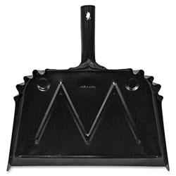 Genuine Joe Dust Pan, Metal, 20 Gauge Steel, 15-1/2 in x 16 in, 12/CT, Black
