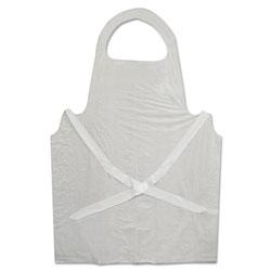 GN1 Disposable Apron, White, Poly, 28 x 45, 1.25 mil, One Size, 100/Pk