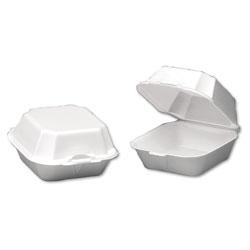 Genpak Foam Sandwich Container, Large, 1-Comp, 5 5/8 x 5 3/4 x 3 1/4, White, 500/Carton
