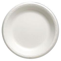 Genpak Foam Dinnerware, Plate, 10 1/4 in dia, White, 125/Pack, 4 Packs/Carton