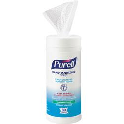 Purell Alcohol Sanitizing Wipes, 80 Wipes, White