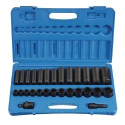 Grey Pneumatic 28 Piece 1/2 in Drive Standard and Deep Length Impact Socket Set