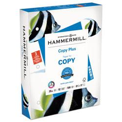 Hammermill Copy Plus Print Paper, 92 Bright, 3-Hole, 20 lb, 8.5 x 11, White, 500/Ream