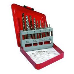 Hanson SAE Spiral-Flute Extractor/Drill Bit Set, 10-Piece