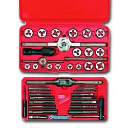 Hanson SAE Machine-Screw/Fractional Tap & Die Set, 41-Piece