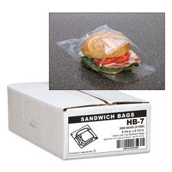 Webster Jumbo Sandwich Bags, 0.7 mil, 5.5 in x 6.25 in, Clear, 3,000/Carton
