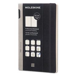 Moleskine Professional Notebook, Narrow Rule, Black Cover, 8.25 x 5, 192 Sheets