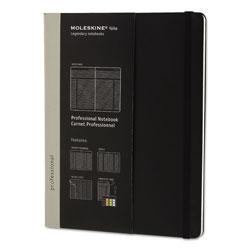 Moleskine Professional Notebook, Narrow Rule, Black Cover, 9.75 x 7.5, 192 Sheets