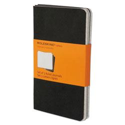 Moleskine Cahier Journal, Narrow Rule, Black Cover, 5.5 x 3.5, 64 Sheets, 3/Pack