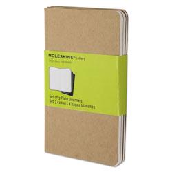 Moleskine Cahier Journal, Unruled, Kraft Brown Cover, 5.5 x 3.5, 64 Sheets, 3/Pack