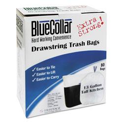 BlueCollar Drawstring Trash Bags, 13 gal, 0.8 mil, 24 in x 28 in, White, 480/Carton