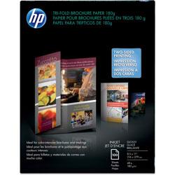 HP Inkjet Tri-Fold Brochure Paper, 98 Brightness, 48lb, 8-1/2 x 11, White, 100/Pack