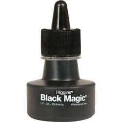 Chartpak/Pickett Higgins Black Magic Waterproof Ink, Black, 1 oz Bottle