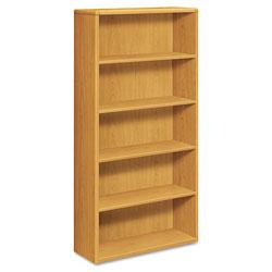 Hon 10700 Series Wood Bookcase, Five Shelf, 36w x 13 1/8d x 71h, Harvest