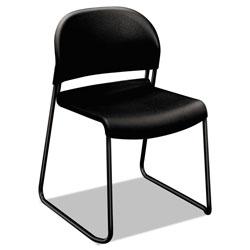 Hon GuestStacker High Density Chairs, Onyx Seat/Onyx Back, Black Base, 4/Carton