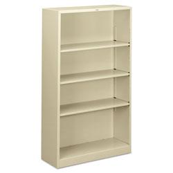 Hon Metal Bookcase, Four-Shelf, 34-1/2w x 12-5/8d x 59h, Putty