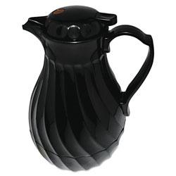 Hormel Poly Lined Carafe, Swirl Design, 64oz Capacity, Black