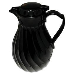 Hormel Poly Lined Carafe, Swirl Design, 40oz Capacity, Black