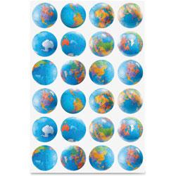 Hygloss Globe Stickers, Classpack, 72/PK, Ast