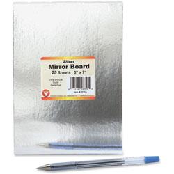 Hygloss Mirrow Board, 5'x7 in, 25Sheets/PK, Silver