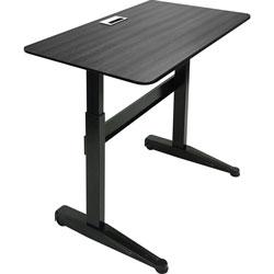 Iceberg Sit-Stand Desk, Mobile, Adj, 47 inx27 inx29 in-46 in, Black