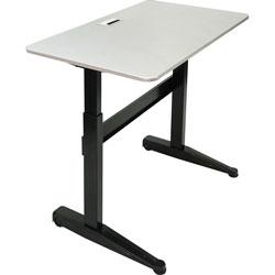 Iceberg Sit-Stand Desk, Mobile, Adj, 47 inx27 inx29 in-46 in, Silver Gray