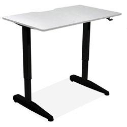 Iceberg Sit-Stand Desk, Mobile, Adj, 59 inx29 inx29 in-46 in, Silver Gray