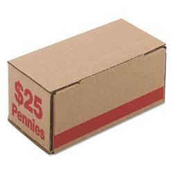 Iconex Corrugated Cardboard Coin Storage w/Denomination Printed On Side, Red