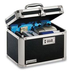 Vaultz Latching Lid Locking Personal Security Box, Combination Lock, 10 x 7.5 x 7.75, Plastic; Steel; Aluminum, Black