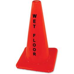 Impact Safety Cone Sign, Wet Floor, Orange