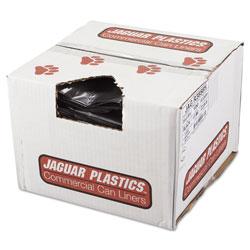 Jaguar Plastics Repro Low-Density Can Liners, 60 gal, 1.5 mil, 38 in x 58 in, Black, 100/Carton