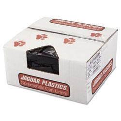 Jaguar Plastics Repro Low-Density Can Liners, 45 gal, 1.5 mil, 40 in x 46 in, Black, 100/Carton