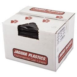 Jaguar Plastics Repro Low-Density Can Liners, 45 gal, 2 mil, 40 in x 46 in, Black, 100/Carton
