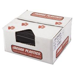 Jaguar Plastics Repro Low-Density Can Liners, 56 gal, 1.5 mil, 43 in x 47 in, Black, 100/Carton