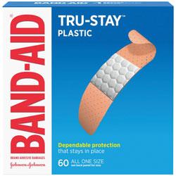 Johnson & Johnson Plastic Adhesive Bandages, 3/4 x 3, 60/Box