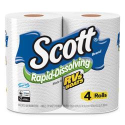 Scott® Rapid-Dissolving Toilet Paper, Bath Tissue, Septic Safe, 1-Ply, White, 231 Sheets/Roll, 4/Rolls/Pack, 12 Packs/Carton