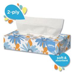 Kleenex White Facial Tissue, 2-Ply, White, Pop-Up Box, 125/Box