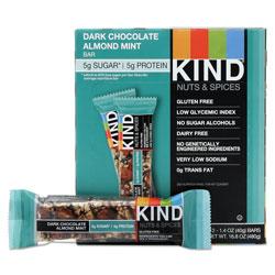 Kind Nuts and Spices Bar, Dark Chocolate Almond Mint, 1.4 oz Bar, 12/Box