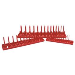 K Tool International 3 Piece SAE Socket Holder Set - Red