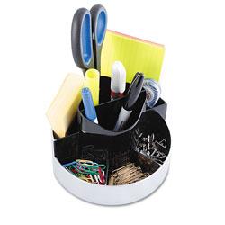Kantek Rotating Desk Organizer, Plastic, 6 x 5 3/4 x 4 1/2, Black/Silver