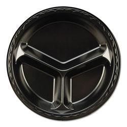 Genpak Elite Laminated Foam 3-Compartment Plate, 10 1/4 in Dia, Black, 125/Pack, 4 PK/CT