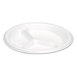 Genpak Elite Laminated Foam Plates, 8.88 Inches, White, Round, 3 Comp, 125/PK, 4 PK/CT