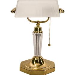 "Ledu 14"" High Executive Banker's Lamp, Frosted White Shade/Acrylic Column/Brass Base"