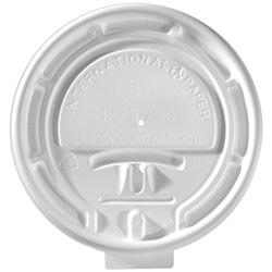 International Paper Flat Tear-Back White Hot Cup Lid, 10 oz. - 24 oz.
