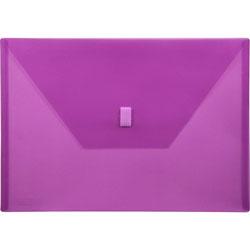 """Lion Poly Envelope, Hook and Loop Closure, 13"""" x 9 3/8"""" Purple"""