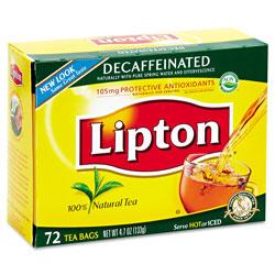 Lipton® Tea Bags, Decaffeinated, 72/Box