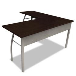 Linea Italia Trento Line L-Shaped Desk, 59.13w x 59.13d x 29.5h, Mocha/Gray
