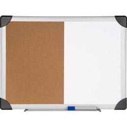 Lorell Combo Board, Erase/Bulletin, 24 in x 36 in, Aluminum